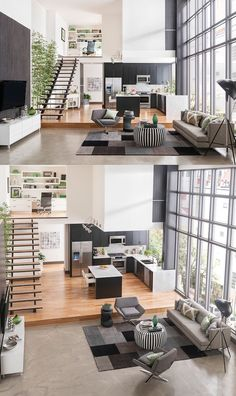15 Amazing Interior Design Ideas For Modern Loft 15 Loft design is usually adopted by those who want to save more space in their tiny home by taking advantage of the empty space under the roof. It looks just like an attic room where we can design for r Loft Design, Deco Design, Design Case, Design Design, Duplex House Design, Design Logos, Small House Design, Design Concepts, Design Trends