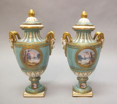 19th C Sevres French Porcelain Urns C 1850 Hand Painted Vases