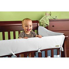 Fabric Crib Rail Cover (prevent tooth marks)....BETTER than the ugly rubber one we have now...