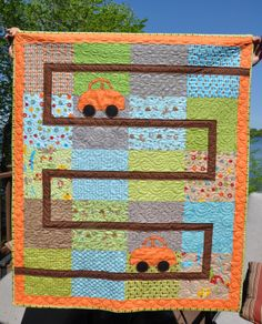 Super simple boy quilt. You could use any car applique shape Quilting For Beginners, Quilting Tutorials, Quilting Projects, Quilting Designs, Quilting Ideas, Sewing Projects, Cute Quilts, Small Quilts, Easy Quilts