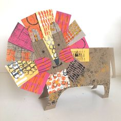 collaged cut out lion — clare youngs Animal Art Projects, Pencil Eraser, Kids Class, Kindergarten Art, Preschool, Some Cards, Circle Pattern, Mark Making, Art Classroom