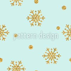 Golden Snow Vector Ornament by Alona  Stepaniuk at patterndesigns.com Vector Pattern, Pattern Design, Snow Vector, Golden Glitter, Surface Design, Snowflakes, Tapestry, Ornaments, Patterns