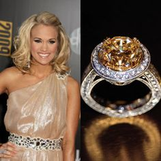 Carrie Underwood's ring from hubby Mike Fisher is a flawless yellow diamond by Jonathan Arndt. The brilliant round-cut ring is estimated to be five-plus carats, with an estimated value of close to $150,000.Photo: Flynet Pictures / Jonathan Arndt