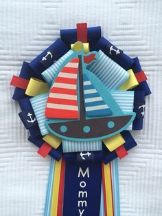 Boy Baby Shower Corsage Mum Sailing Nautical Blue It's a Boy on Etsy, $19.50