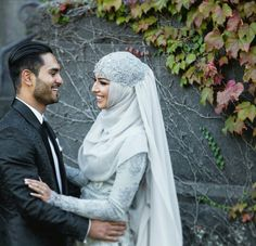 Awww MashaAllah beautiful couple #syar'i - styled by thehijabstylist…