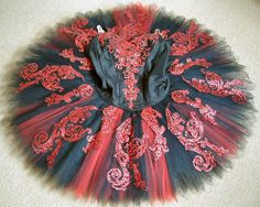 red embellished black ballet tutu