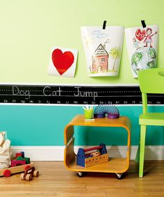 Wallies - chalk board border for decorating the playroom with alphabet as well http://www.rainydaymum.co.uk