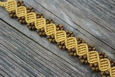 Micro-Macrame Beaded Bracelet Marigold and di HKMacrameJewelry