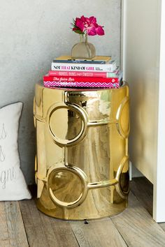Gold Ceramic Side Table