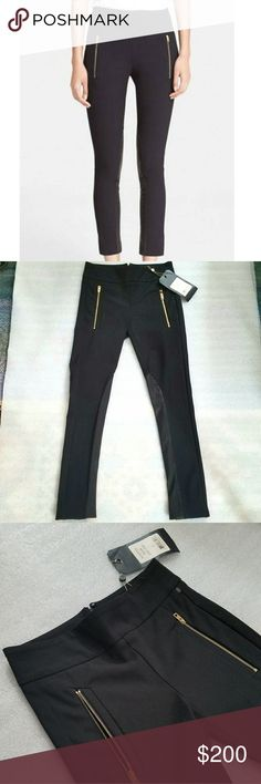NWT Rag & Bone Black Dino Ankle Pants Size 00 It is a new with tags black dino ankle pants from Rag & Bone. There are 2 zippered pockets in the front. The length is 36.5 and the inseam is about 27 in. Down the inseam there is a 100% lamb leather patch on both legs. The waist is 12.5 in. There is an invisible back zipper of 5.5 in and a clasp on the top of the interior. The hem is 5in. The tag is still attached, just a bit wrinkled. rag & bone Pants Ankle & Cropped