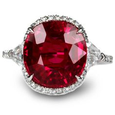 6.25 carat, certified natural and unheated Burmese ruby set with diamonds in platinum.