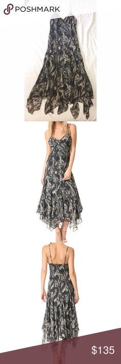 HAUTE HIPPIE | Silk Paisley Cami Dress *NWT* HAUTE HIPPIE | Silk Paisley Cami Dress *NWT* | An airy silk Haute Hippie dress in a blurred paisley print. The handkerchief hem creates a graceful drape. Adjustable spaghetti straps. Hidden back zip. Lined. 100% Silk Haute Hippie Dresses Midi