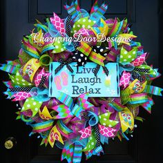 READY TO SHIP!!! Live, Laugh, Relax Deco Mesh Wreath, Summer Mesh Wreath, Flip Flop Mesh Wreath, Beach Wreath, Pool Wreath, Everyday Wreath by CharmingDoorDesigns on Etsy https://www.etsy.com/listing/229658936/ready-to-ship-live-laugh-relax-deco-mesh