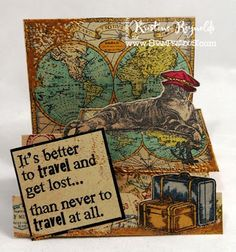 Stair step card with Stampendous stamps
