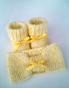 Newborn Booties & Headband Set for Baby Girl /Handmade Knit Fashion/New Baby Girl Gift/Beautiful Knit Set/Baby girl set/Square yellow ribbon by Vintagespecialmoment on Etsy