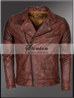 Brown Biker Leather Jacket  http://www.stinsonleathers.com/product/brando-styled-mens-brown-biker-leather-jacket/