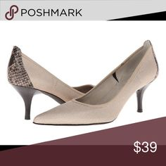 "Tahari Taupe Dottie High Heels Details: - Pointed toe - Allover camo print - Slip-on - Approx. 3"" heel - Imported Materials: Textile upper, manmade sole Tahari Shoes Heels"