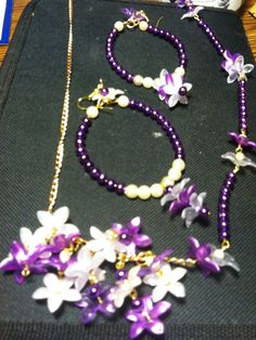 Purple and white flowered necklace with matching earrings by me