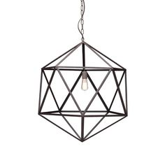 The Zuo Modern Amethyst Ceiling Lamp - Large - Rust lights up your space while adding ultra modern design. This hanging lamp features a faceted gem cage design and bare Edison style bulb (included), making it brilliant. Pendant Light Fixtures, Pendant Lighting, Light Pendant, Metal Chandelier, Pendant Lamps, Entry Chandelier, Industrial Chandelier, Industrial Bedroom, Wire Pendant