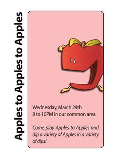 """Resident Assistant social program """"Apples to Apples to Apples"""" hosted at Boise State University in Towers Hall by RA Reanna Klanseck."""