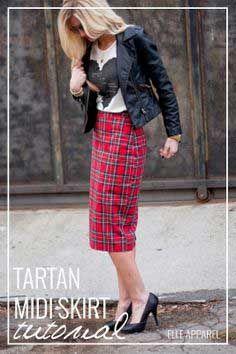 Free Tutorial TARTAN MIDI {TUTORIAL} I Visit  www.sewinlove.com.au/tag/tutorial/  For More DIY Fashion Tutorial.
