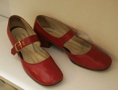 d882e9714ec Vintage Ruby Red Leather Mary Janes by Capezio size 9