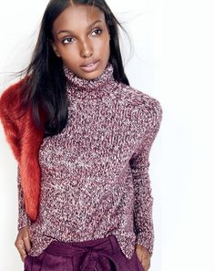 J.Crew women's classic turtleneck sweater, cropped wide-leg pant and Collection luxe faux-fur scarf.