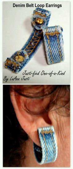 Denim Belt Loop Earrings Made From Recycled Jeans Jean Crafts, Denim Crafts, Upcycled Crafts, Diy Jeans, Jewelry Crafts, Handmade Jewelry, Handmade Leather, Denim Belt, Denim Purse