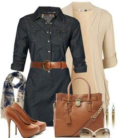 Work outfit - Dress, cardigan at equal length to dress. Brown leather pumps, purse, and belt. scarf.