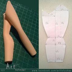 Plantilla para hacer piernas con curvas para fofuchas. by artfofuchas