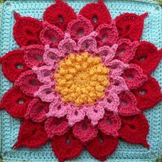 Crochet Crocodile Stitch Granny Square ~ FREE pattern