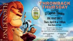 "The votes are in... It's official, the next Throwback Thursday film will be The Lion King on Thursday, April 10 at 7:00p. Doors will open at 6:15p.  Plus, see the 1932 Walt Disney Silly Symphony short ""Flowers and Trees"" before the movie.  For tickets, call 1-800-DISNEY6 or go to www.elcapitantickets.com!"