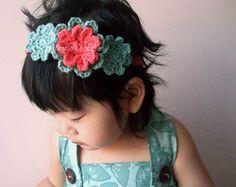 Persimmon Blossom Headband - girls flower crochet headband, orange, seaspray green