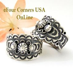 Stamped Sterling Silver Band Ring Navajo Artisan Bennie Ramone Four Corners USA OnLine Native American Jewelry