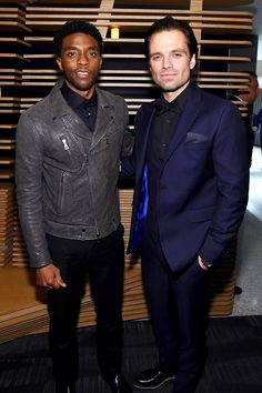 Chadwick Boseman and Sebastian Stan attend the after party for the screening of Marvel's 'Captain America: Civil War' hosted by The Cinema Society with Audi & FIJI at North Cove Marina on May 4, 2016 in New York City.