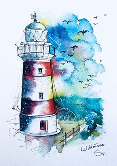 pencil drawings - Lighthouse 2 Original watercolour painting on aquaell paper cm Colorful watercolor artwork 6 Watercolor Artwork, Watercolor Landscape, Watercolor And Ink, Watercolour Pencil Art, Watercolour Illustration, Watercolour Techniques, Watercolor Sketchbook, Lighthouse Painting, Art Drawings