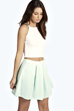 $10, Mint Skater Skirt: Boohoo Maria New Season Box Pleat Skater Skirt. Sold by BooHoo. Click for more info: https://lookastic.com/women/shop_items/233189/redirect