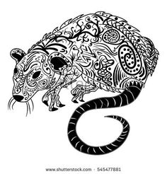 Rat chinese zodiac sign zen tangle stylized, vector illustration, pattern, freehand pencil, hand drawn. Zen art. Ornate. Lace.