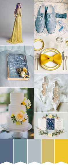 This creative wedding color palette of yellow and dusty blue really stands out! I love these wedding colors for spring wedding ideas - so bright and sunny! Blue Yellow Weddings, Yellow Wedding Colors, Yellow Theme, Spring Wedding Colors, Dusty Blue Weddings, Wedding Color Schemes, Wedding Blue, Colour Schemes, Wedding Vintage
