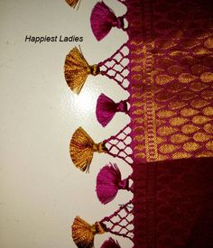 Saree Tassels – Hand work / DIY Saree Tassels Designs, Saree Kuchu Designs, Bridal Blouse Designs, Saree Accessories, Saree Border, Hand Work Embroidery, Elegant Saree, Saree Dress, Blouse Patterns