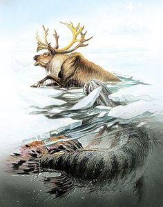 Prehistoric Wildlife, Prehistoric Creatures, Wildlife Art, Hunting Painting, Hunting Art, Animal Paintings, Animal Drawings, Black Pen Sketches, River Monsters