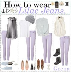 """I think I need lilac jeans """"How to wear: Lilac jeans!"""" by teenagetippers-xo ❤ liked on Polyvore"""