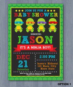 Ninja Turtles Baby Shower Invitation, Ninja Turtle Baby Shower Invitation,  TMNT Baby Shower Invitation