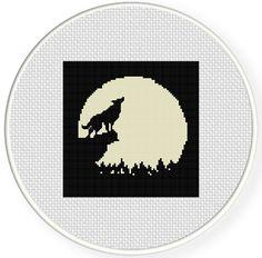 FREE Howling Wolf Cross Stitch Pattern