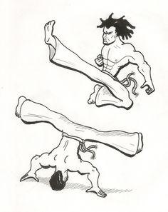 Capoeira - Black&White - Air kicking