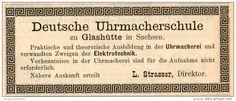 Original-Werbung/Inserat/ Anzeige 1891 - DEUTSCHE UHRMACHERSCHULE/ GLASHÜTTE SACHSEN - ca. 110 x 45 mm