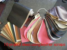 10 project ideas for leather scraps-love the head band and the stroller bag ideas
