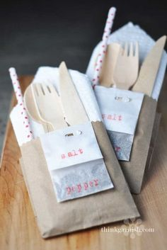 Wrap up everything guests might need in a neat little kraft paper bag pocket, including salt and pepper packets stapled to the side.