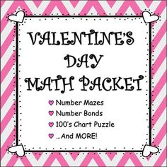 """Celebrate Valentine's Day with this fun-filled, math packet, designed for K-1st grade!INCLUDES: 2 Number Mazes (Counting by 2s to 50 and by 5s to 100.) Valentine's Day Themed 100's Chart Puzzle (Recognizing numbers 1-100.) """"Heart-To-Heart Mystery Picture"""" (Recognizing multiples of 10 [<100].) 3 Number Bond Activity Sheets (Visualizing """"part-part-whole"""" relationships for   numbers 3-10.)~Preview Available~"""