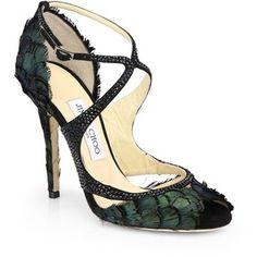 Jimmy Choo Kamelia Shimmer Feather Sandals